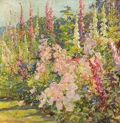 stilllifequickheart:Abbott Fuller GravesHollyhocksLate 19th century