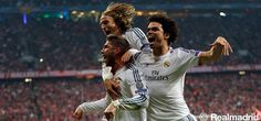 Ramos modric and pepe celebrate Ramos' goal
