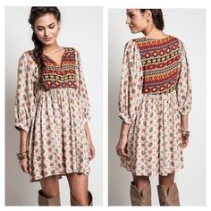 """Flash Sale‼️Babydoll Tribal Navajo tunic dress NEW ❤️❤️Babydoll dress  Tribal Navajo print Tunic Boho Chic i👉color Taupe 👉3/4 length sleeves👉Partial button down👉Babydoll / Empire waist👉Soft cotton blend👉Loose fit flows comfy style.  Casual , Effortless, throw on and go.  Approximate length from shoulder 33"""".  65% Cotton, 35% Polyester. Flirty Meow Boutique Dresses"""