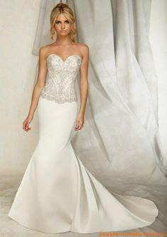 Mollig Bodenlang Schönes Brautkleid 2013 aus Satin