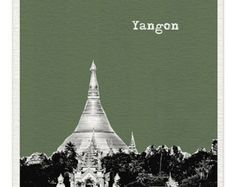 Yongon Myanmar Burma Skyline Art Print -  World Traveler Series Pop Art Skyline Poster  Sule Pagoda  - Available in 56 Colors - MM025