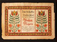 Bucks County, Plumstead Township, Pennsylvania. Presented to Abraham Meyerin in 1821. Watercolor on paper in a horizontal arrangement that was likely a bookplate, yet given the larger size and format, may have been the first page of a song book.