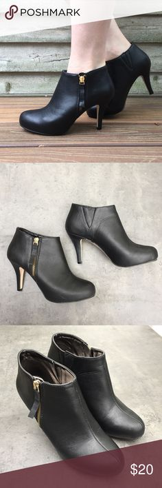 """Madden girl """"Ginger"""" boot Madden Girl """"Ginger"""" ankle booties. Size 7. Gold side zippers. Some discoloration of one of the heel which can barely be seen (see pic). Madden Girl Shoes Ankle Boots & Booties"""