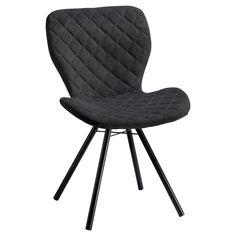 Comfortabele antracietkleurige stoel met zwart metalen onderstel. 53x56x83 cm (lxbxh). #kwantumstijl