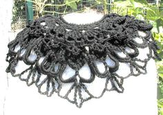 Black Lacy Skulls  Crochet Scarf  Calaveras For Day by spidermambo, $30.00
