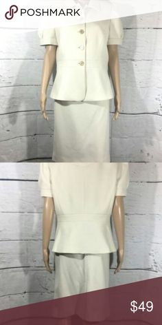ON SALE! Calvin Klein Power 2pc White Skirt Suit Love this power suit in ivory with gold finishing buttons. Excellent used condition!  100% polyester.  Dry Clean Only. Approximate measurements (can provide more details if needed):  Jacket: 20.5 inches pit to pit Waist 36 inches. 25.5 inches long.  Skirt: 33 inch waist 24 inches long Calvin Klein Skirts Skirt Sets