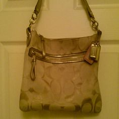 Coach purse Used coach purse (very used) hot pink satin in the inside and comes with another strap to make into a crossbody purse Coach Bags Shoulder Bags