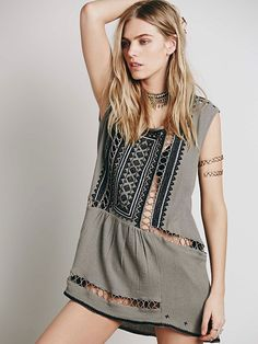 Free People Sleeveless Embroidered Tunic at Free People Clothing Boutique