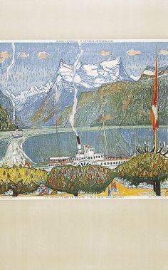 Alois Carigiet 1945 Grayson Perry, Swiss Travel, David Hockney, Naive, Children's Books, Travel Posters, Printmaking, Switzerland, Vintage World Maps