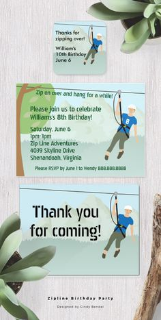 Zip Line Lining Birthday Party. Invitations, Favor Stickers and Thank You Cards. Also called zipline or ziplining.