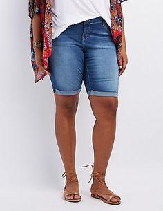 f5b3afd1cea Plus Size Cuffed Denim Bermuda Shorts