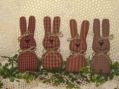 Set of 4 Primitive fabric rabbits Handmade bowl fillers Easter Home Decor #NaivePrimitive #Handmade