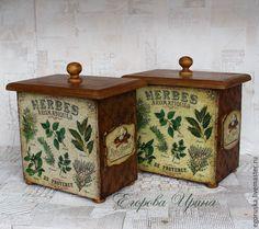 """Купить Короб """"Травы"""" - оливковый, короб для хранения, короб, короб для кухни, короб для специй"""