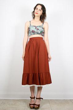 Vintage Hippie Skirt Chocolate Brown Midi por ShopTwitchVintage