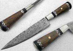 "12.50"" Custom Manufactured Beautiful Damascus Steel Chef Kitchen Knife"