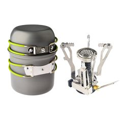Outdoor Camping Hiking Backpacking Picnic Cookware Cooking Tool Set Pot Pan + Piezo Ignition Canister Stove travel Cookware