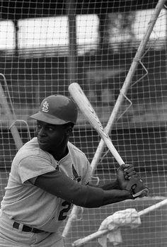 St. Louis Cardinal Lou Brock at spring training. 1969