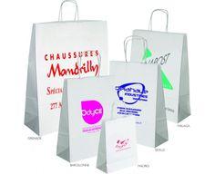 Sacs publicitaires en kraft. 100% recyclables, renouvelables et biodégradables, les anses sont en papiers torsadées