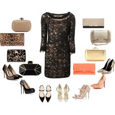 """""""Black lace dress (Shoes and Clutches)"""" by silhouetteimage on Polyvore"""