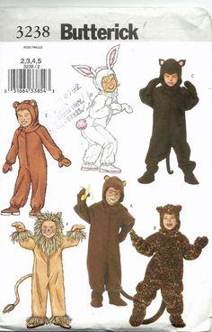 Uncut Sewing Pattern, Butterick 3238, Toddler Girl boy Costume, Bunny Rabbit, Monkey, Lion, Bear, Child Kids Size 2, 3, 4, 5, Jumpsuit Hood