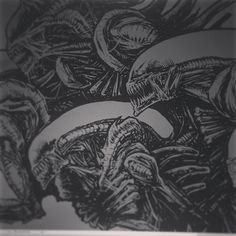 """godmachine on Instagram: """"wip. thought i was making progress on this alien but then i zoomed out and realised i was drawing 6 aliens. new poster coming soon."""""""