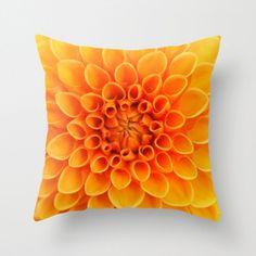 Orange Dahlia Flower Pillow Cover Natural by machelspencePHOTO, $28.00