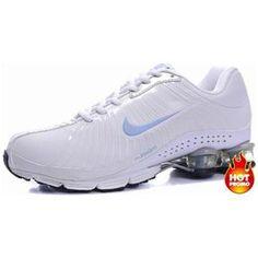 3b532532b9bf38 Womens Nike Shox R4 White Blue Lether Discount Nikes