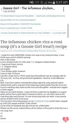 Chicken rice-a-roni soup