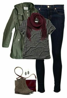 """""""Oxblood, gray & army green"""" cute casual look. Mode Outfits, Casual Outfits, Fashion Outfits, Womens Fashion, Cheap Fashion, Ladies Fashion, Fashion Clothes, Scarf Outfits, 50 Fashion"""
