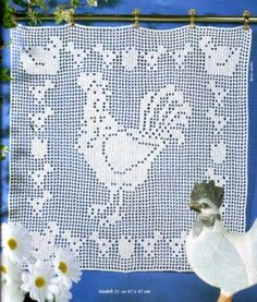 crochet rooster, hens and chicks Filet Crochet, Crochet Chart, Thread Crochet, Knit Crochet, Crochet Patterns, Crochet Curtain Pattern, Crochet Curtains, Curtain Patterns, Chicken Crafts