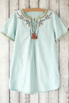 Embroidered Lace-Up Round Neck Short Sleeve T-Shirt