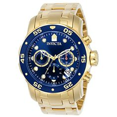 ccd94233f52d Invicta Men s 0073 Pro Diver Collection Chronograph 18k Gold-Plated Watch  with Link Bracelet Acero