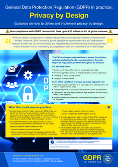GDPR In Practice - What is Privacy by design? and office posters to increase staff awareness on GDPR as non-compliance can result in fines of up to million or of global turnover (whichever is higher). Data Protection Officer, General Data Protection Regulation, Gdpr Compliance, Ui Color, Digital Literacy, Business Intelligence, Big Data, Project Management, Tecnologia