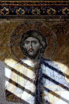 AΓΙΑ ΣΟΦΙΑ: Christ Pantokrator: detail from the 'Deesis' mosaic in the South Gallery, dating from the late thirteenth century. Byzantine Icons, Byzantine Art, Christian Art, Early Christian, Christ Pantocrator, Empire Ottoman, Hagia Sophia, Art Icon, Orthodox Icons