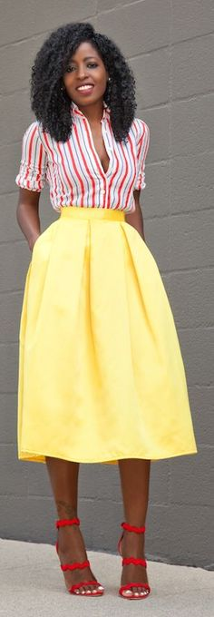 Striped Button Up Yellow Box Pleat Skirt Outfit Idea by Style Pantry
