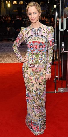 Emily Blunt's Alexander McQueen Red Carpet Dress at Girl on the Train Premiere   InStyle.com