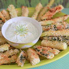 Spicy Baked Zucchini Fries with Greek Yogurt Dill Dip
