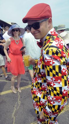 2015 Preakness Stakes - Michael Heyser, of Mt. Vernon, dons a very dapper suit made emblematic of the Maryland state flag at the 140th Preakness.