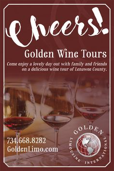 Join us December 17 - Come enjoy a lovely day out with family and friends on a delicious wine tour of Lenawee County!  Golden Wine Tours will begin at J. Trees Cellars at 12:00 p.m. and continue on to visit 2 to 3 other wineries in Lenawee County until 5:30 p.m. The tour will include wine tastings at each venue, transportation throughout the tour on the Golden Trolley (or a luxurious vehicle), and appetizing treats during the ride. December 17, Wineries, Wine Tasting, Transportation, Vehicle, Alcoholic Drinks, Join, Trees, Friends