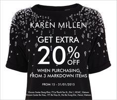 Khuyến mãi 2015 KAREN MILLEN - Get extra 20% off