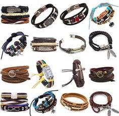 Fashion Handmade Genuine Leather Bracelets For Men Punk Surfer Braided Bracelets Braided Bracelets, Ankle Bracelets, Bracelets For Men, Handmade Bracelets, Fashion Bracelets, Leather Necklace, Leather Bracelets, Viking Bracelet, Simple Jewelry