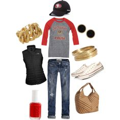 A fashion look from January 2012 featuring The North Face vests, Hollister Co. jeans and Converse sneakers. Browse and shop related looks.