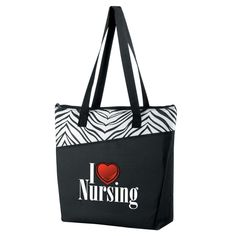 I (Heart) Nursing Zebra Zipper Tote   Positive Promotions