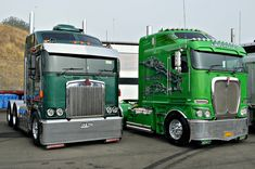 Two good looking trucks side by side, the Kenworth K104 & Kenworth K200