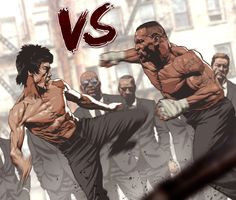 Bruce Lee Art, Bruce Lee Photos, Bruce Lee Poster, Mike Tyson, Comic Books Art, Comic Art, Fighting Drawing, Boxing Posters, Fighting Poses