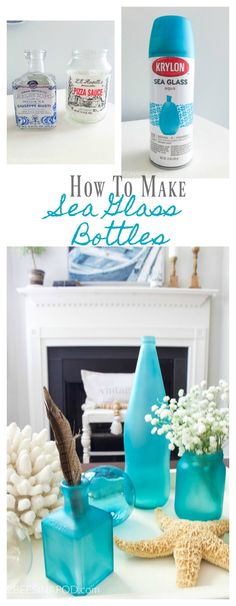How to Make Sea Glass Bottles. How to make beach glass. Easy DIY project. #2beesinapod #spraypaint #seaglass #beachglass #diyhomedecor #easycraft #paint #seaglasspaint