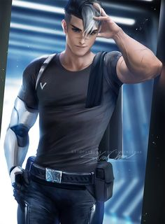 Handsome and sexy Shiro from Voltron Legendary Defender Shiro Voltron, Form Voltron, Voltron Ships, Voltron Klance, Voltron Comics, Sakimichan Art, Yuri, Takashi Shirogane, Voltron Force