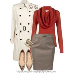 Looking stylish at work with this Burberry trenchcoat and flats with pizazz.
