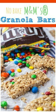 """#SHAREFUNSHINE #COLLECTIVEBIAS  Chewy no bake granola bars studded with M&M's® and perfect for some summer fun-shine and spontaneous outings! And don't forget to enter the """"Share A Little Funshine Sweepstakes"""" No Bake M&M's® Granola Bars - Eazy Peazy Mealz"""