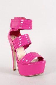 Anne Michelle Turnup-05 Quilted Strap Open Toe Platform Heel #urbanog